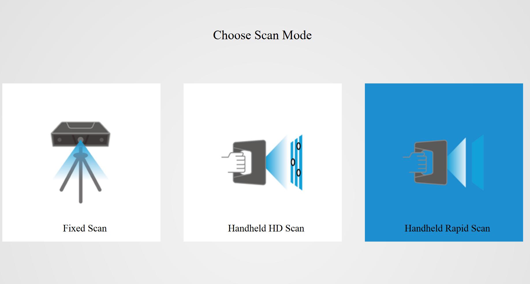 Ejemplo de modos de trabajo en el Software del Escaner Discover