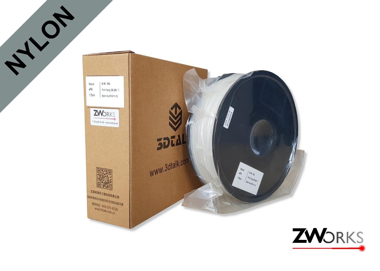 Filamento para impresoras 3D, Nylon, 1,75 mm Bobina 1 kg Color blanco