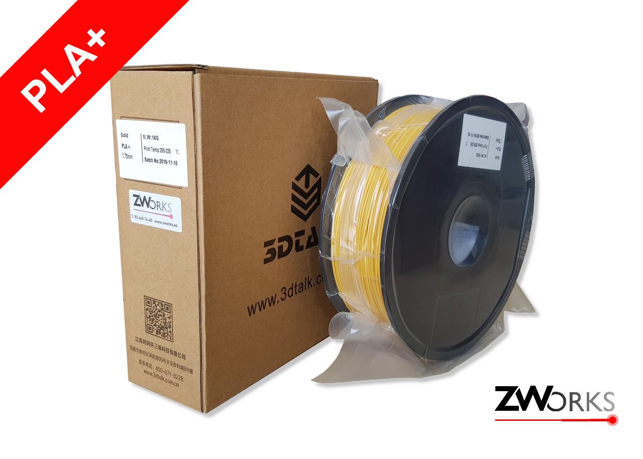Filamento para impresoras 3D PLA+ 1,75 mm Bobina 1 kg Color amarillo dorado