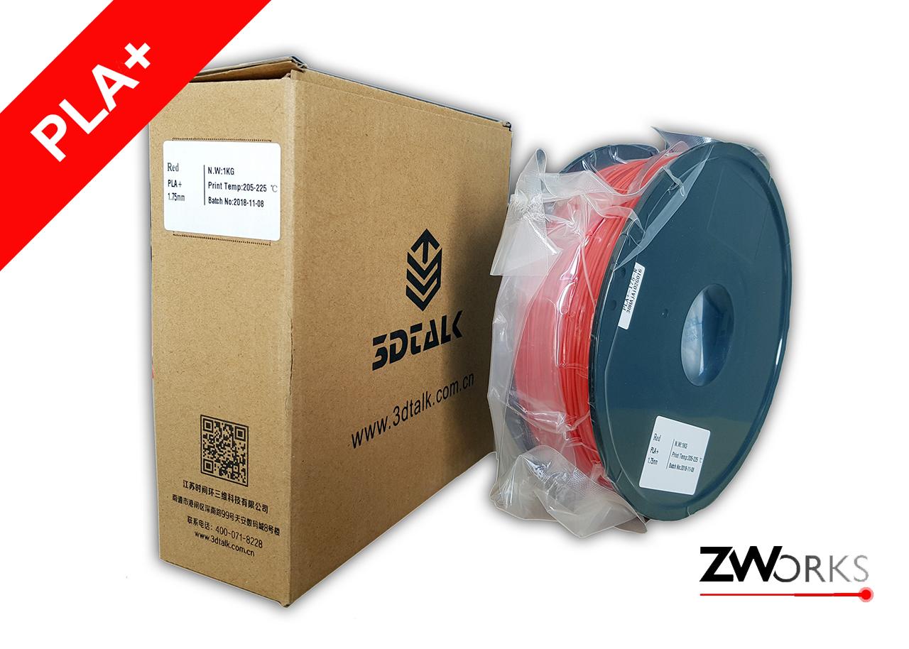 Filamento para impresoras 3D PLA+ 1,75 mm Bobina 1 kg Color rojo