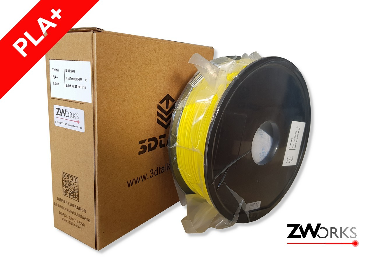 Filamento para impresoras 3D PLA+ 1,75 mm Bobina 1 kg Color amarillo