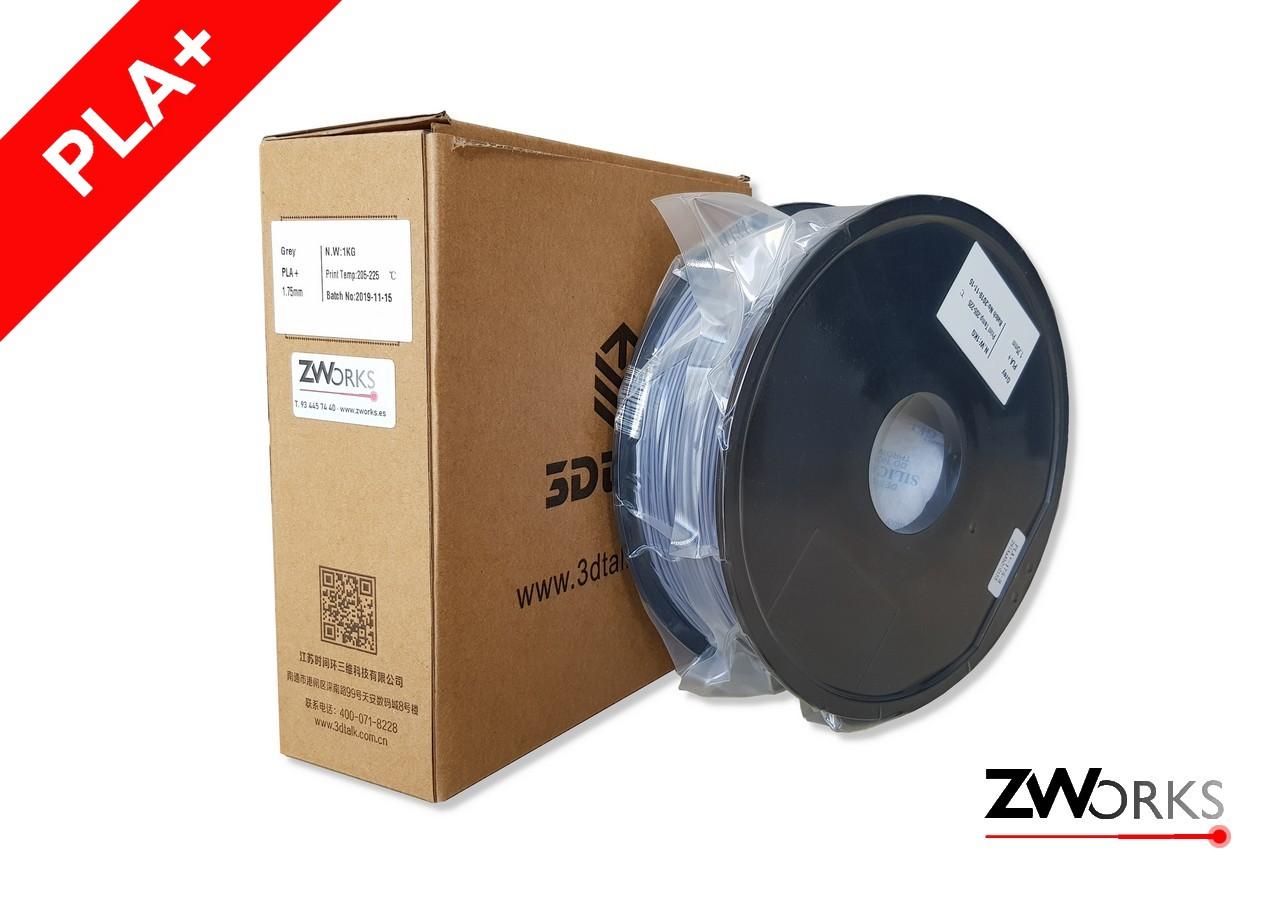 Filamento para impresoras 3D PLA+ 1,75 mm Bobina 1 kg Color gris