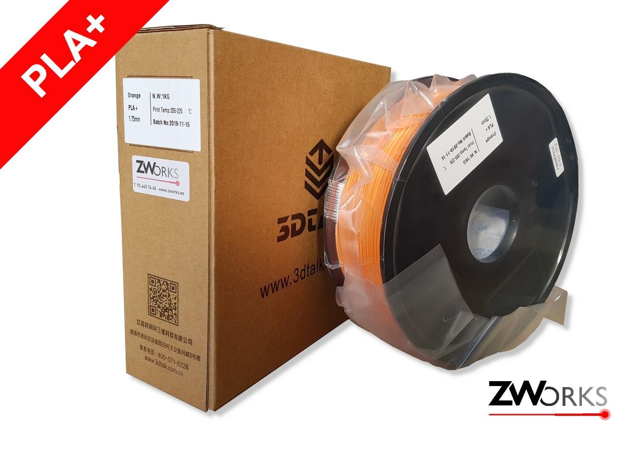 Filamento para impresoras 3D PLA+ 1,75 mm Bobina 1 kg Color naranja