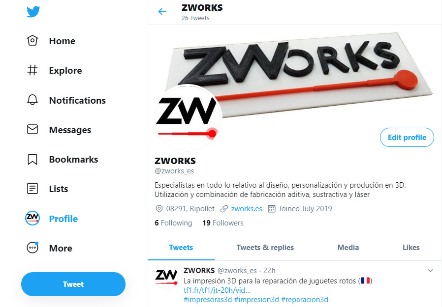 Las noticias del mundo 3D en el twitter de ZWORKS.